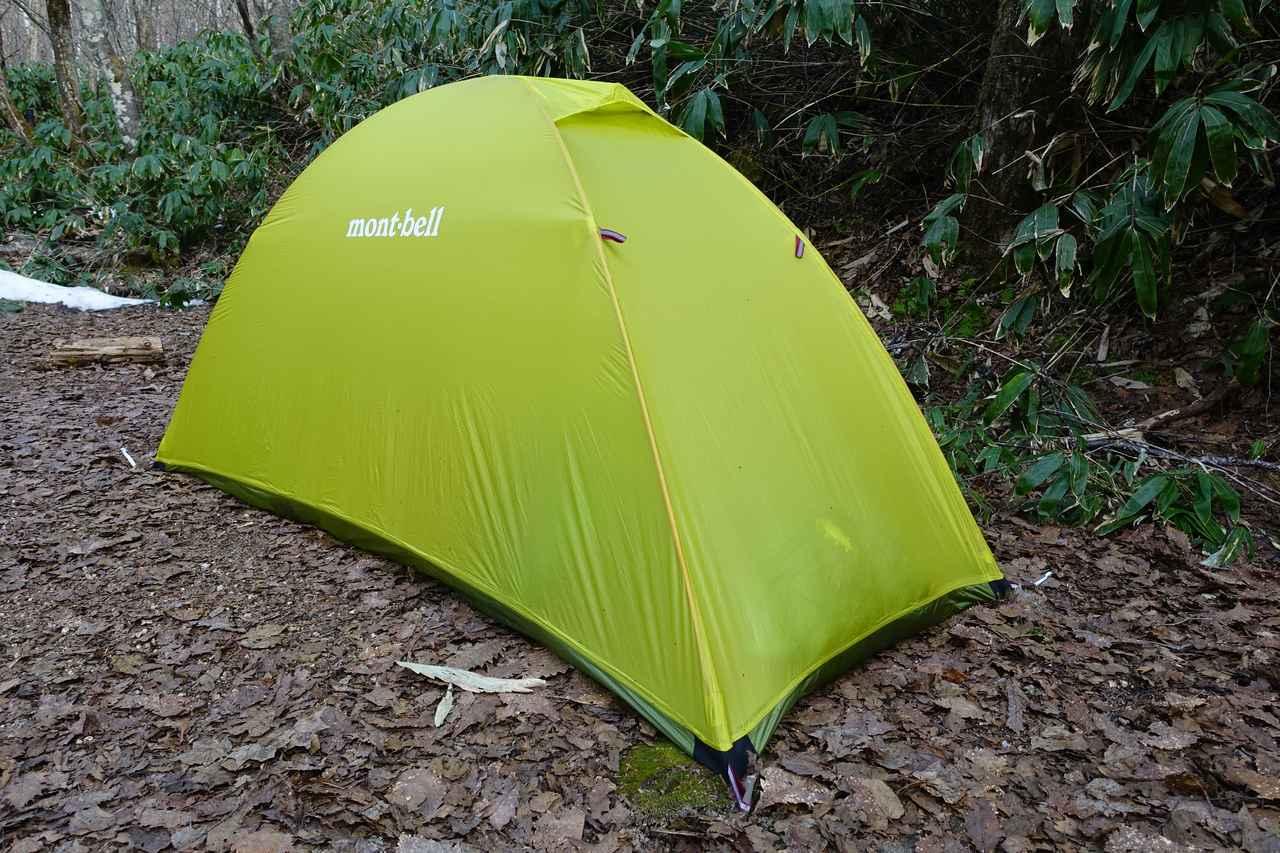 画像: 筆者撮影・ポールで自立するタイプのシングルウォールテントは一見ほぼ一般的なテントと見分けがつきません