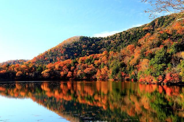 画像: 標高1478mの湯ノ湖、周囲をかこむ山々が華やかに色づいたダイナミックな景観