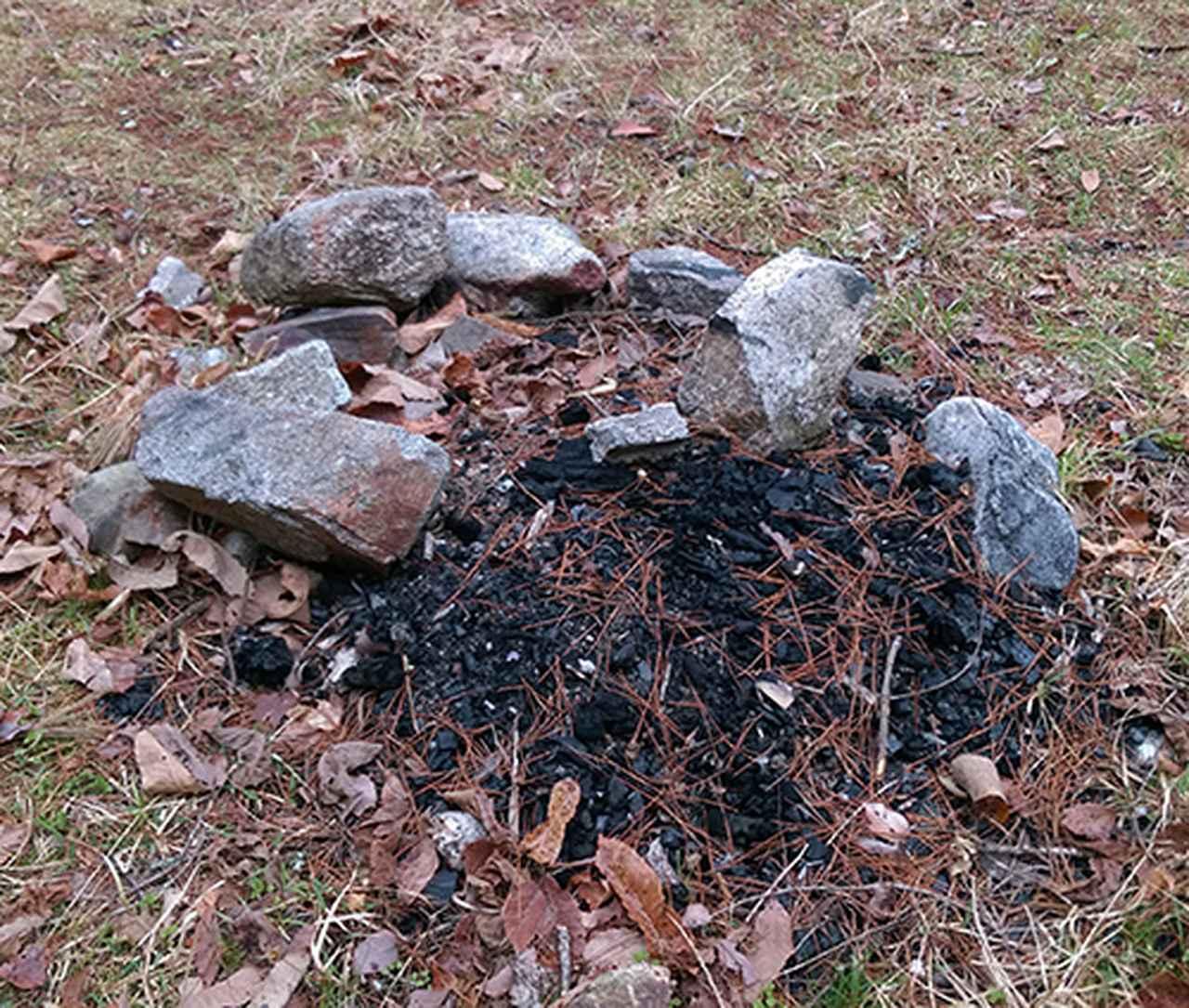 画像: 筆者撮影 直火禁止キャンプ場での焚き火