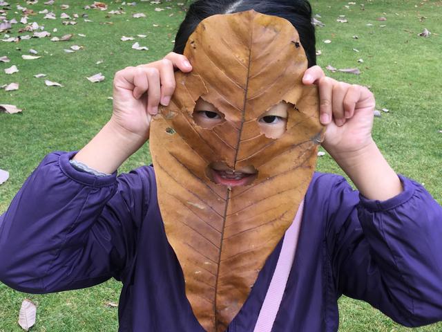 画像: 筆者撮影 ホオノキの葉でお面を作成する子供(北海道知事公館)