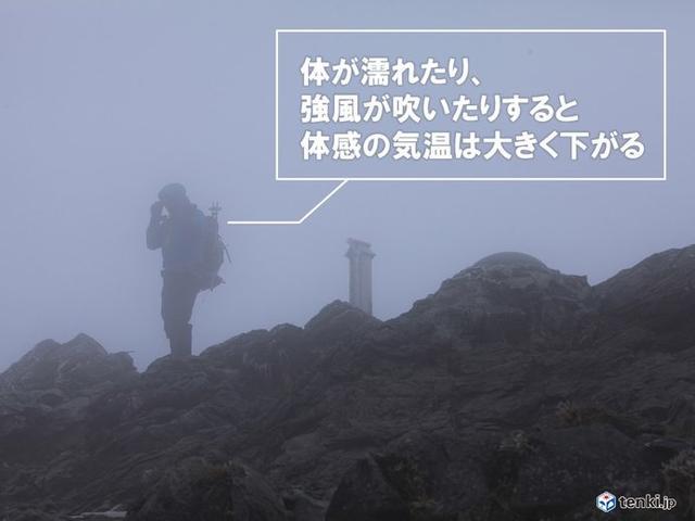 画像: 低体温症は雨・風・低温の順で危険