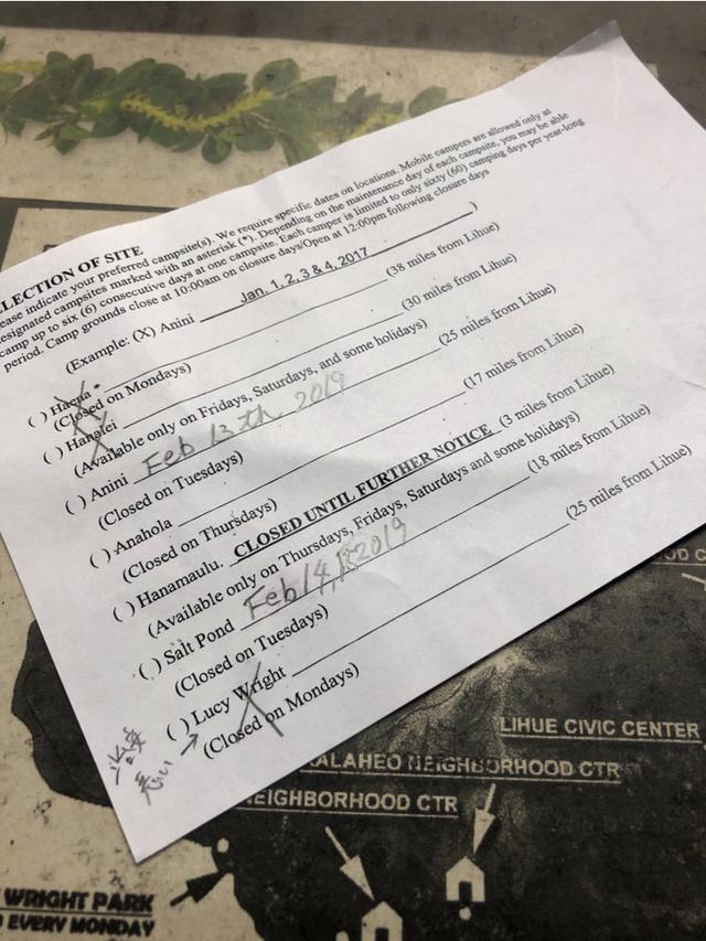 画像: 筆者撮影(参考:写真はカウアイ島役所での申請用紙。記入用紙の書式は役所によって異なります。)