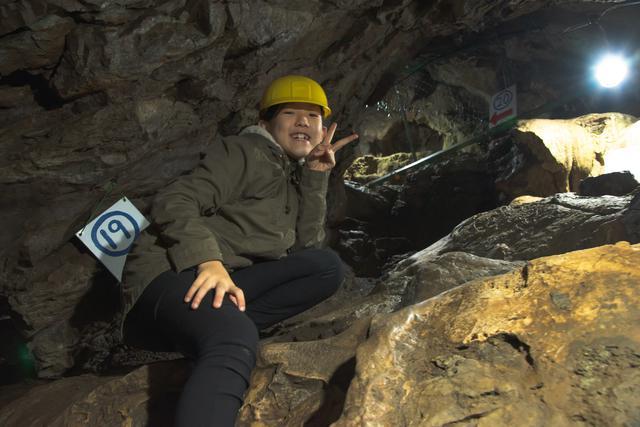 画像: 大岳鍾乳洞にて:父撮影
