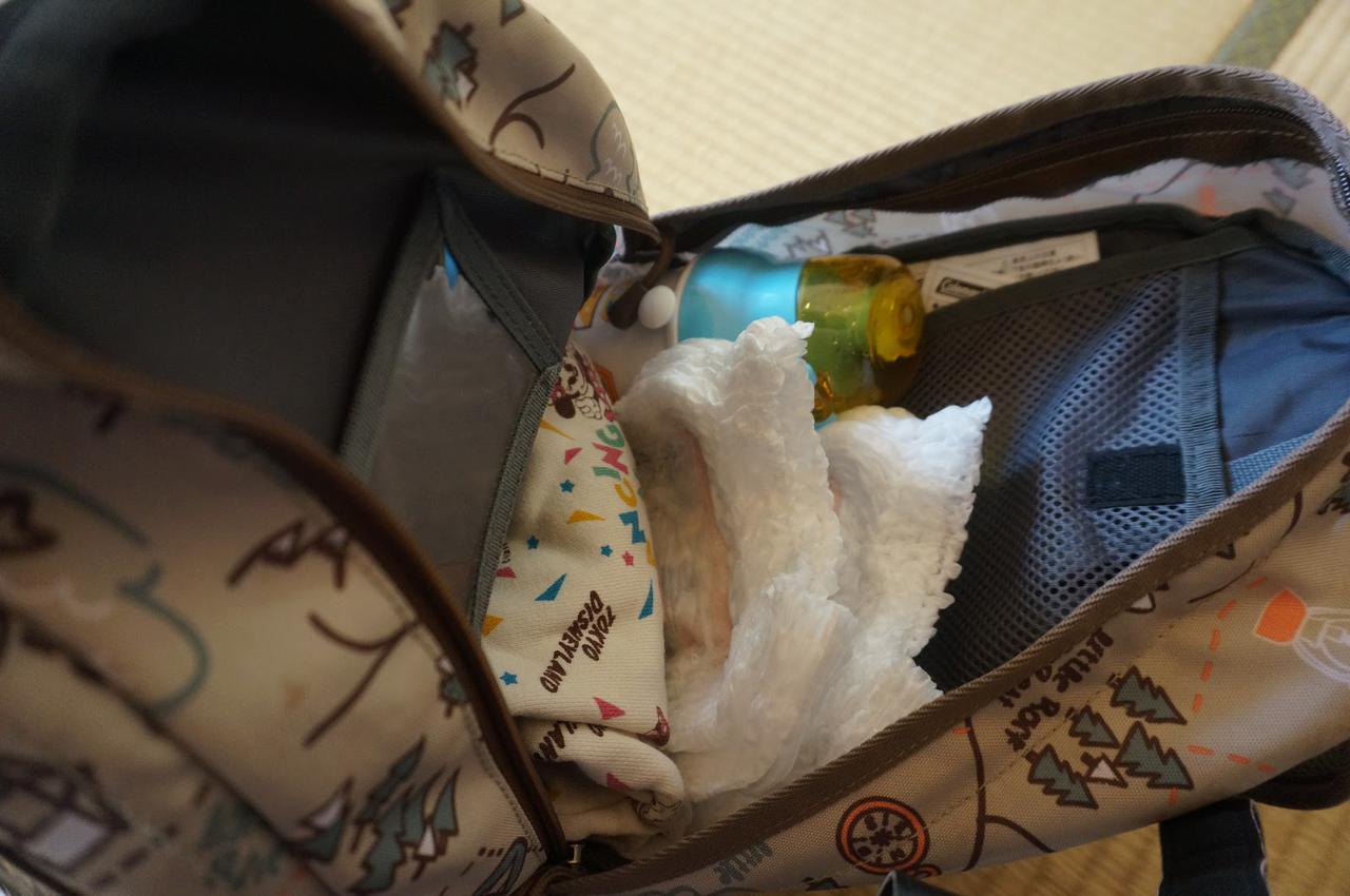画像: 筆者「着替え、オムツ、水筒などが入ります」
