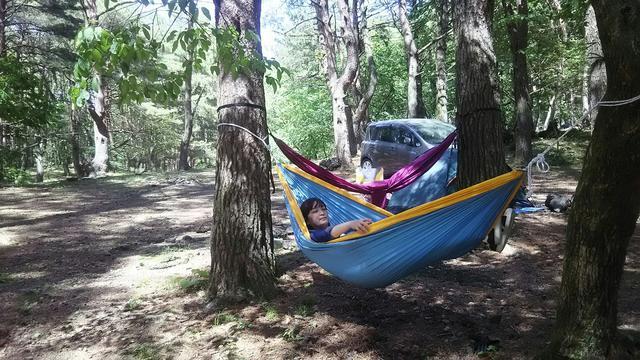 画像: 筒井響子撮影 ※木に直接ロープを巻いても良いかキャンプ場に必ず確認すること! 場合によってはタオルを巻くなどして対応。