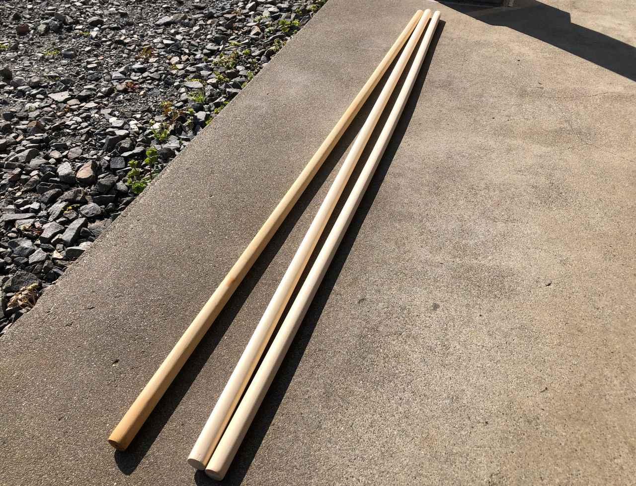 画像: 筆者提供:ホームセンターの木材コーナーで購入した丸棒
