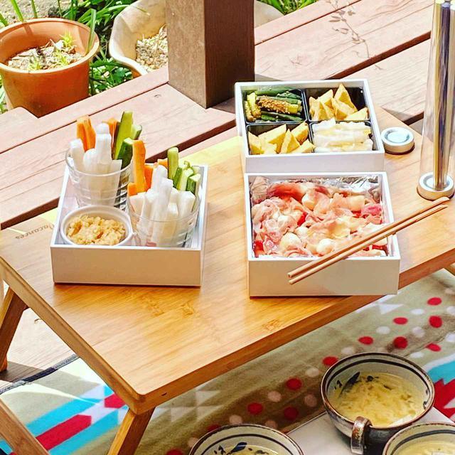 画像2: 【ベランダや庭でピクニックを楽しむコツ】レジャーシート×折りたたみテーブル×おしゃれなバスケット