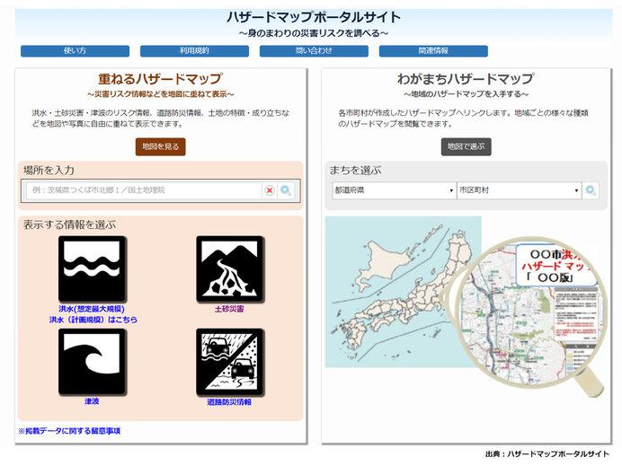 画像: 「ハザードマップポータルサイト」トップページ