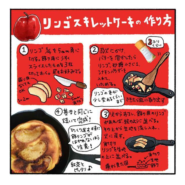 画像: 【アレンジレシピ3】角切りリンゴのスキレットケーキの作り方