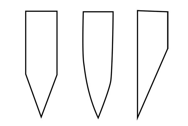 画像: 筆者作画 左:両刃 真ん中:蛤刃(はまぐりば) 右:片刃