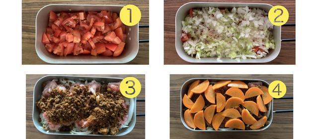 画像: 筆者撮影:水分の出やすい野菜(トマト、みじん切り野菜)を先に入れていくのが、固形燃料1個でも上手に作れるポイントです。