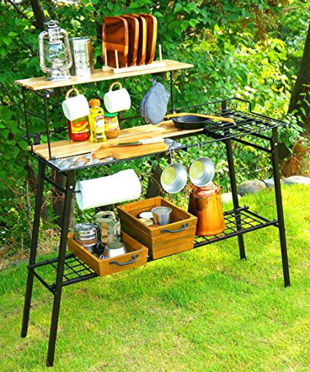 画像1: 【注目ギアレビュー】ネイチャートーンズのキッチンカウンターテーブルをみーこパパがキャンプで使ってみた