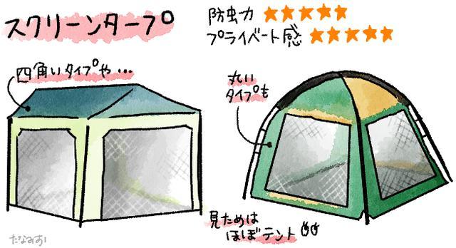 画像: 【タープ種類・形の比較④】壁もあるスクリーンタープは防虫効果がピカイチ 風の影響を受けるので注意