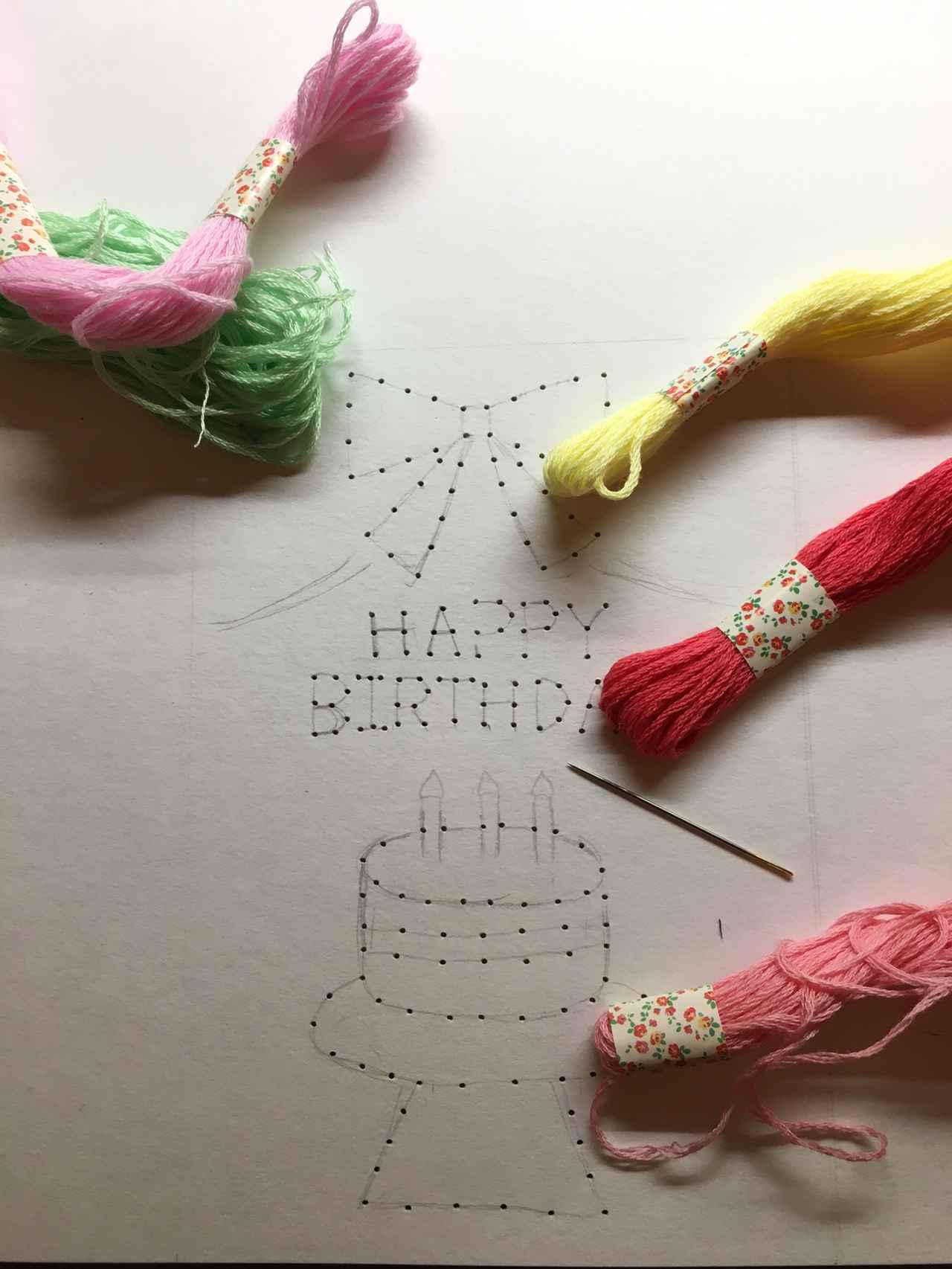 画像: 【紙刺繍のやり方①】図案を描いて穴をあけるだけで準備完成 クロスステッチ針や刺繍糸がおすすめ