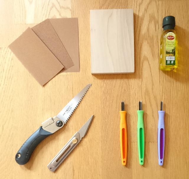 画像: 材料と製作に使った道具 (筆者撮影)