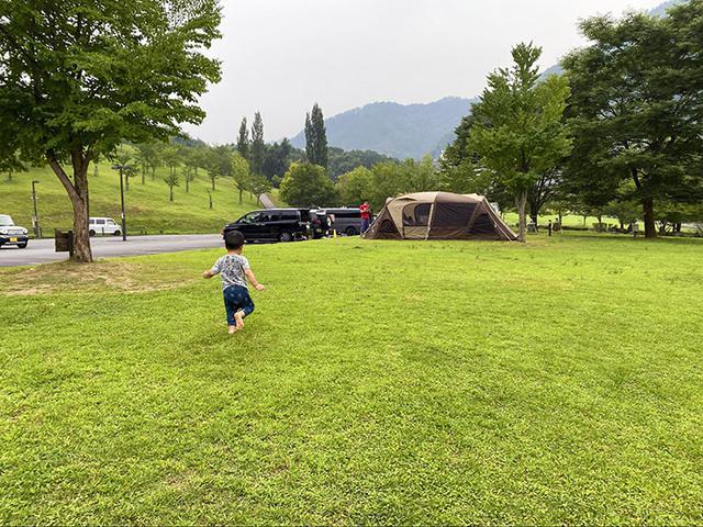 画像: 駐車場の横すぐから広がる芝生サイト (筆者撮影)
