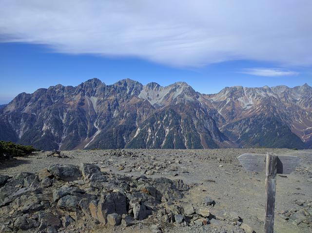 画像: 蝶ヶ岳の頂上から山々を望む (筆者撮影)