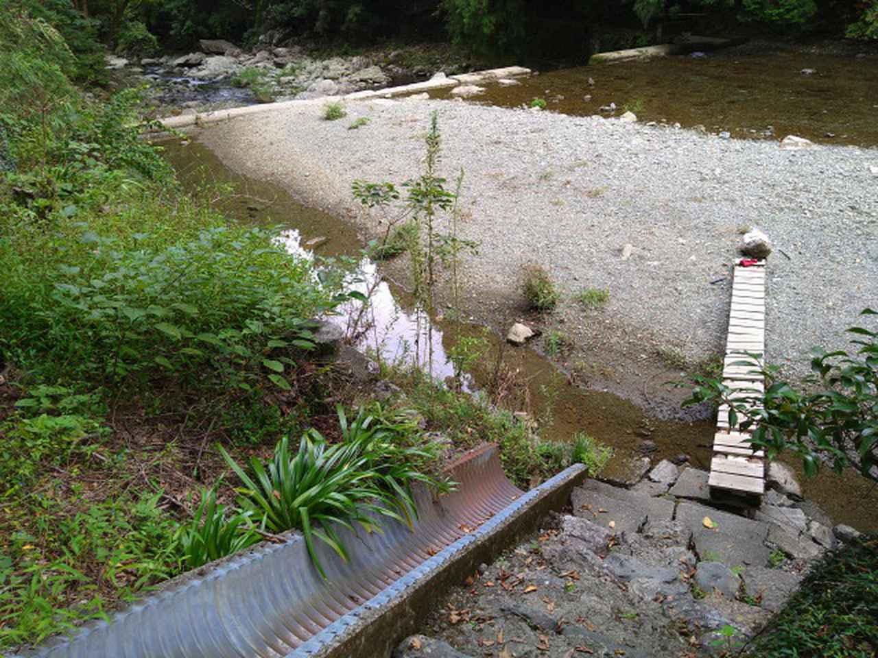 画像: 筆者撮影「板を渡って川へ」