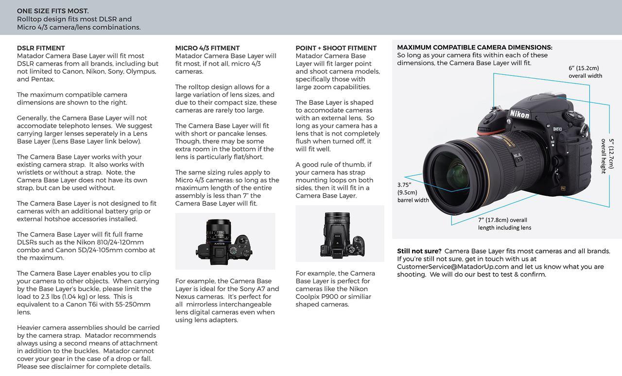 画像: Camera Base Layer Detailed Sizing