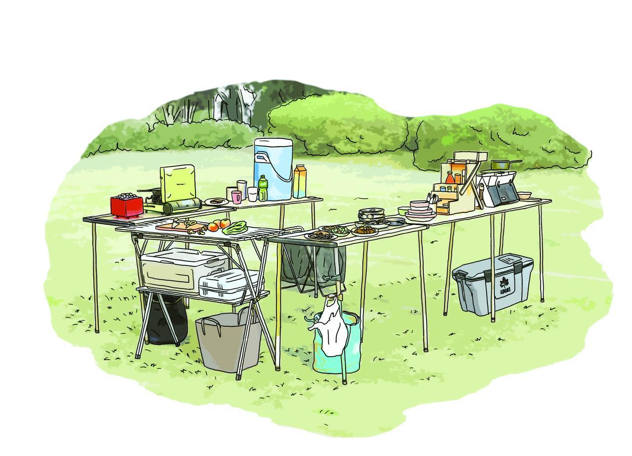 画像: 立食ケータリングスタイル イラスト提供・キャンプ情報誌「 fam_mag(ファム マグ)」