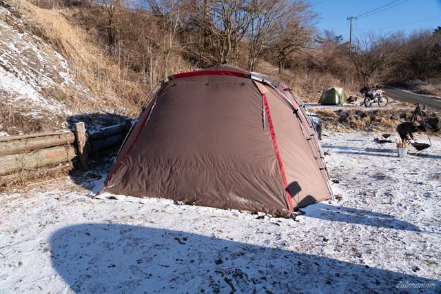 画像: 筆者撮影 2020年2月富士ヶ嶺おいしいキャンプ場さんにて積雪時のキャンプ
