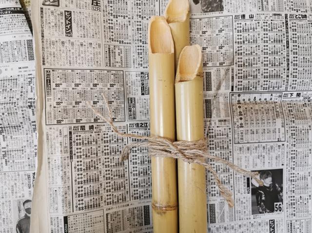画像: 3本の竹を、作った縄で止めて「竹部分」の完成 (筆者撮影)