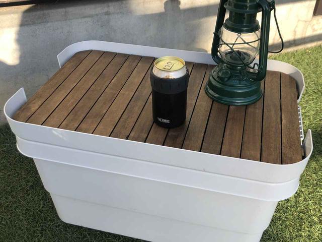 画像: 【100均DIY】セリアのすのこで無印の収納ボックスをサイドテーブルにチェンジする方法 - ハピキャン(HAPPY CAMPER)