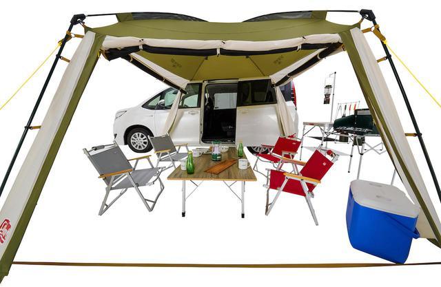 画像1: 車と連結してリビングや寝室を手軽に作れる「カーサイドテント/3025」
