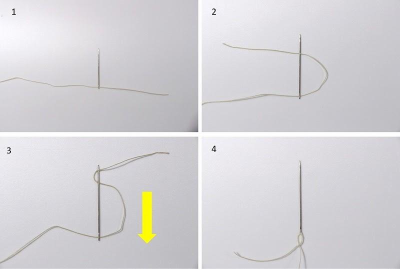 画像: 筆者撮影 針と糸を結ぶ工程