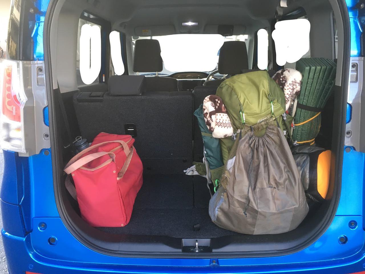 画像: 筆者撮影 車なら私のいつもの徒歩キャン装備に、着替えやクーラーバックを追加しても余裕!!