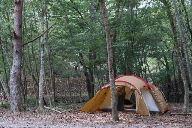 画像: キャンプアカイケのフリーサイトは、荷物の出搬入時のみ車乗り入れ可能・著者撮影