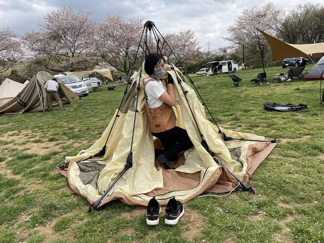 画像: 筆者撮影:ワンタッチテントなら「そんなに力のない女」でも簡単に設営できます