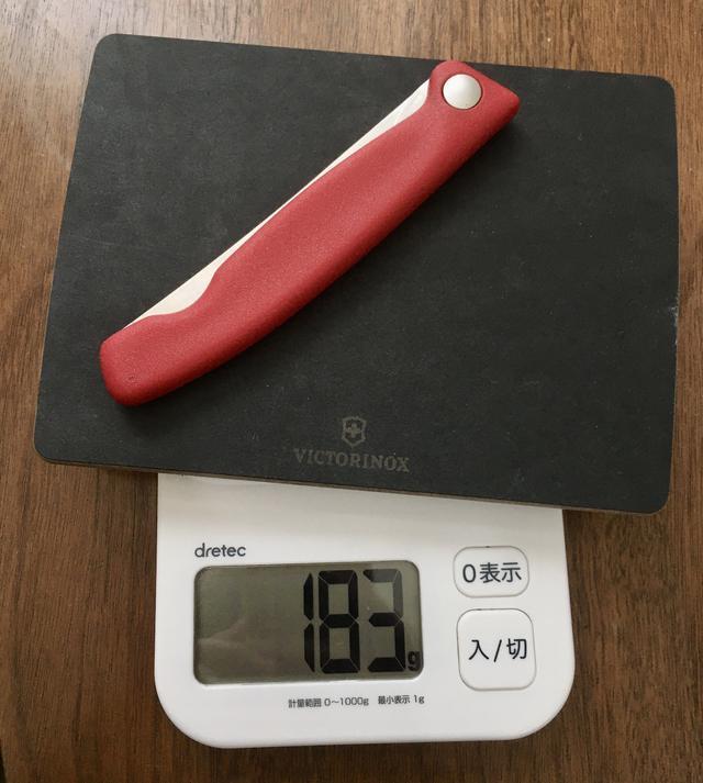 画像: 筆者撮影 ナイフとセットでの販売もされているボードと合わせても183g(公式表記は186g)