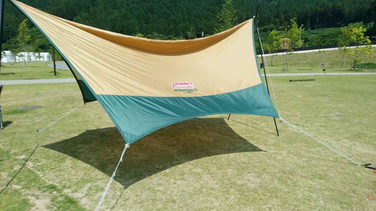 画像: 1.タープは布状の屋根で、役割はリビング空間を作ること キャンプ中の日差し・風・雨を防ぐ