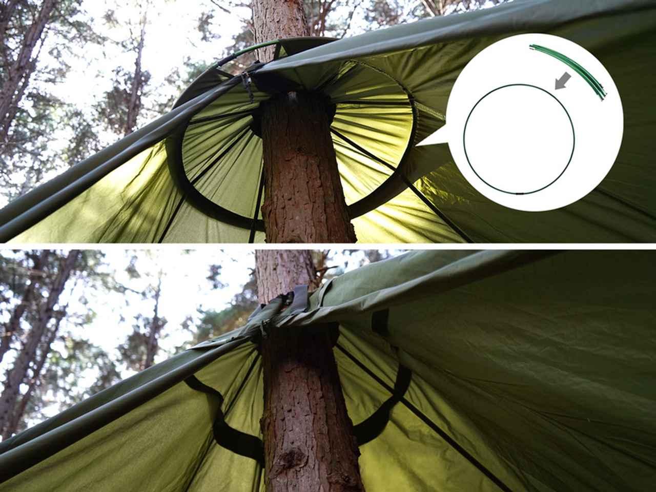 画像: 細い木でも上部空間を確保するサブポール