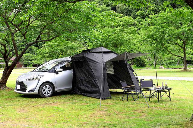 画像1: 車でキャンプもリモートワークもできる!アウトドアユーザーの声から生まれたカーサイドタープ『カラップ』