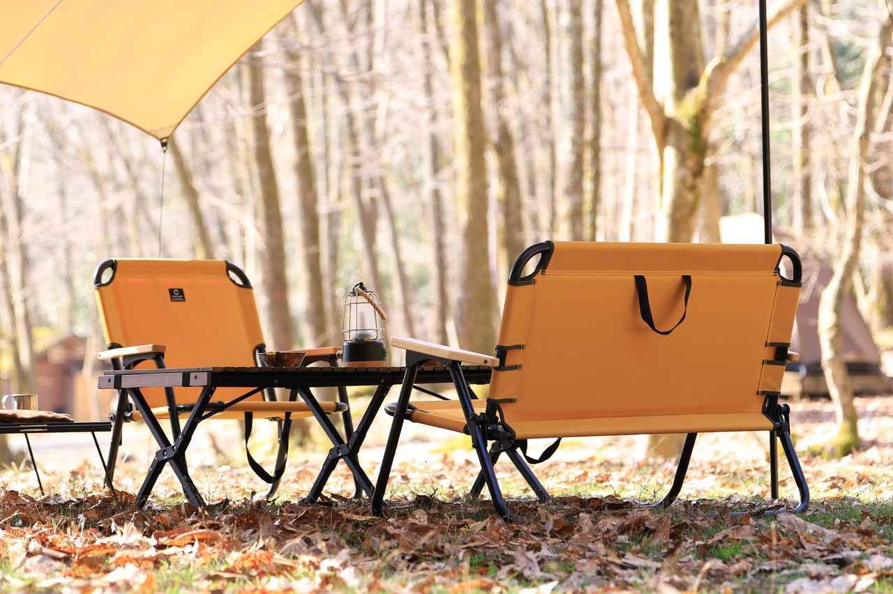 画像: ワイドホイールワゴン・一人掛けローチェア・二人掛けベンチに「マスタード」が加わってキャンプサイトにアクセントを!