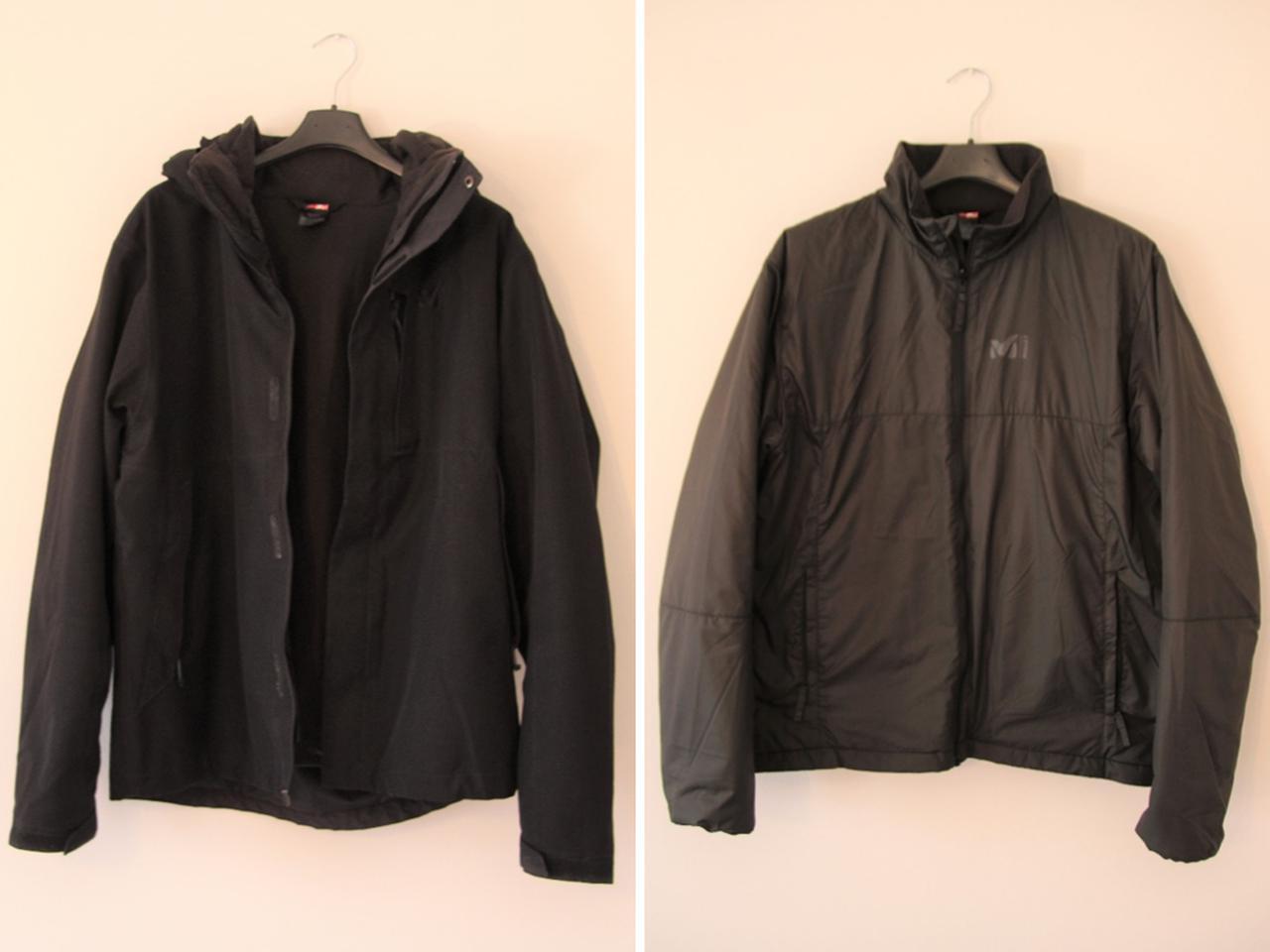 画像: 筆者撮影 ミレーのジャケット(左)から取り出したインナーのジャケット(右)