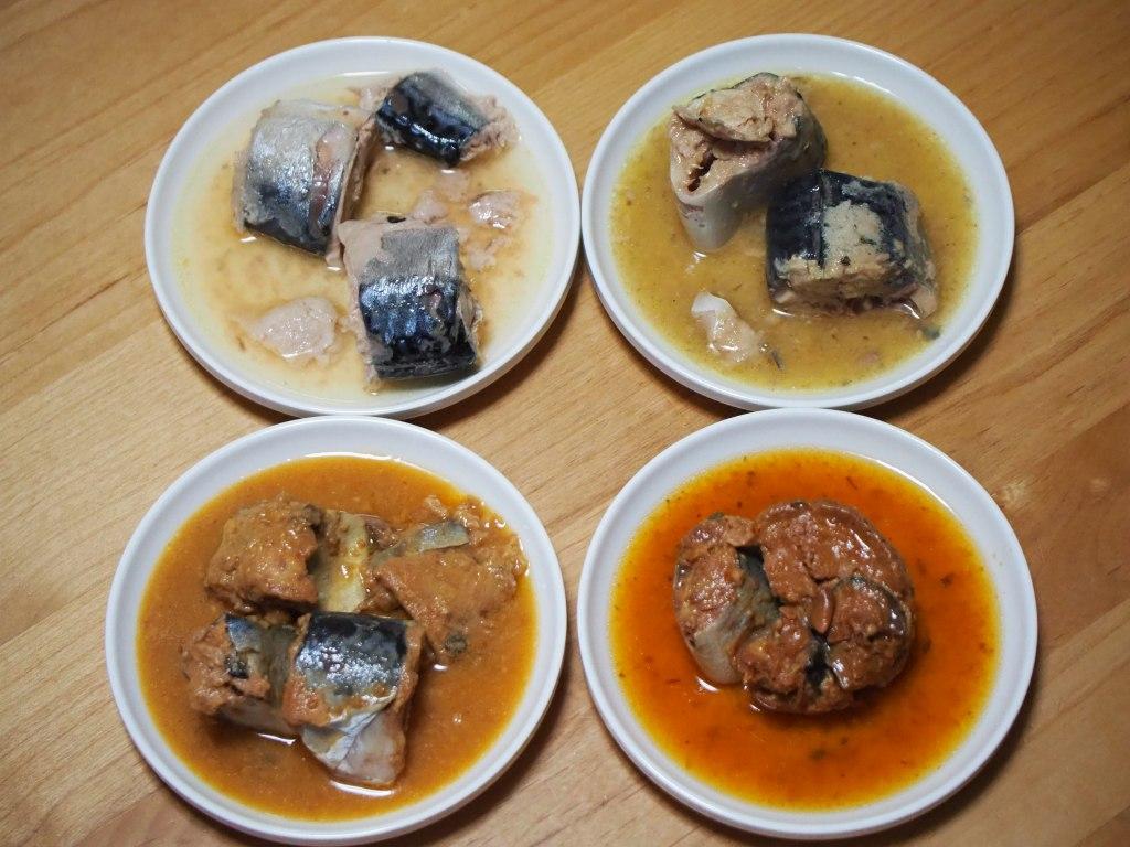 画像: 筆者撮影 (右上)水煮、(左上)ゆず胡椒、(左下)味噌煮、(右下)梅しそ風味