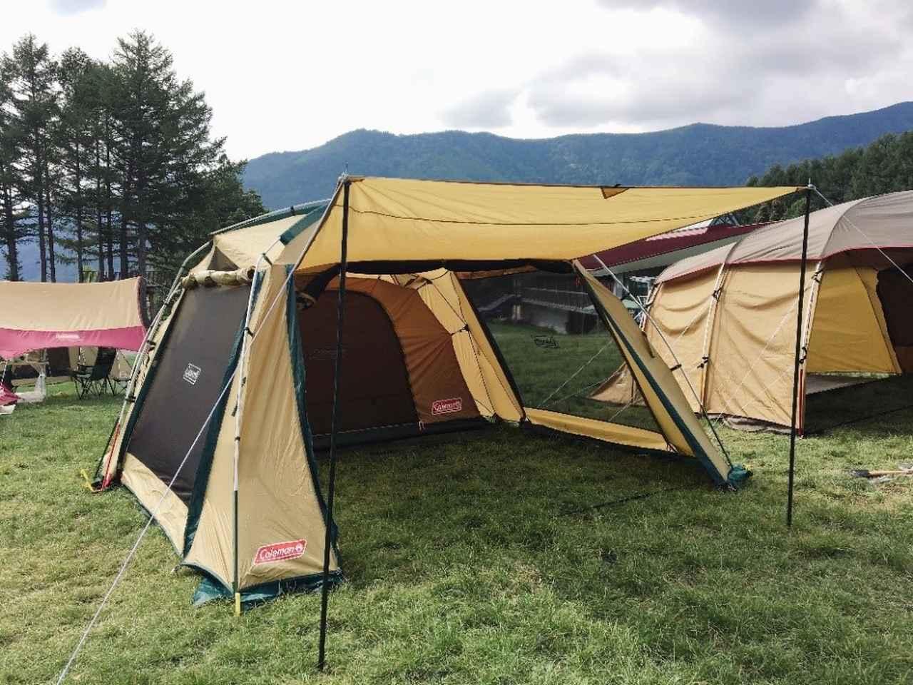 画像: 筆者撮影 ロッジドーム型(ツールーム型)テント (写真はコールマン タフスクリーン2ルームハウステント)