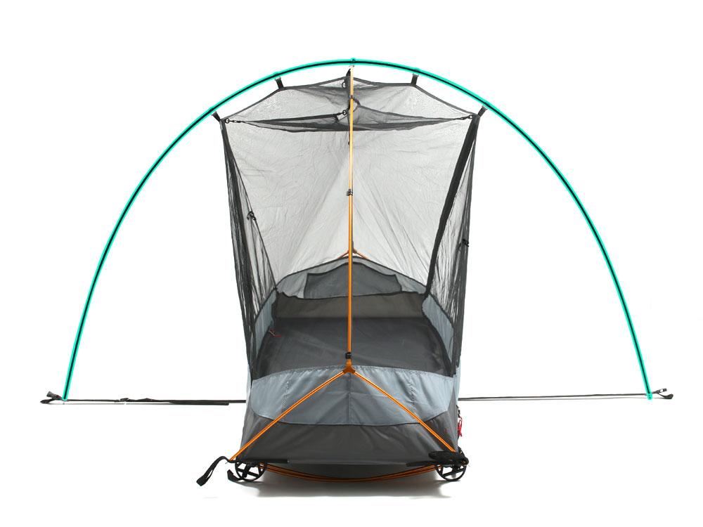 画像: テント単体でも前室が確保できる独自機構 グラウンドテープのベルト長を調整することで、コットの有無に関係なくフライシートが張れます。※強風などの荒天時での利用は、必ずペグダウンを行ってください。
