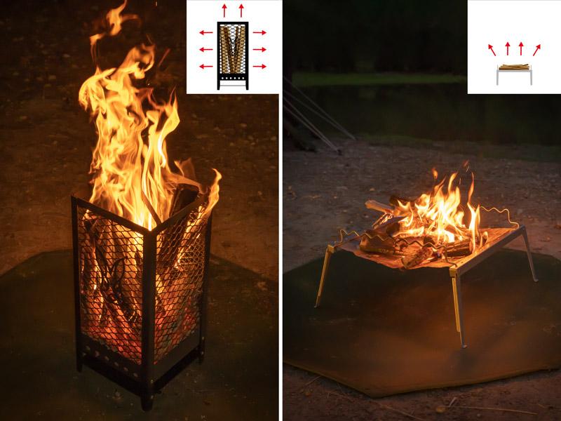 画像: 縦置き構造だから燃えている部分が全て見える。だからワイルドで暖かい。
