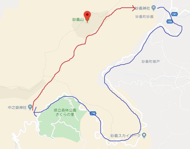 画像: 妙義山周辺拡大図と登山ルート