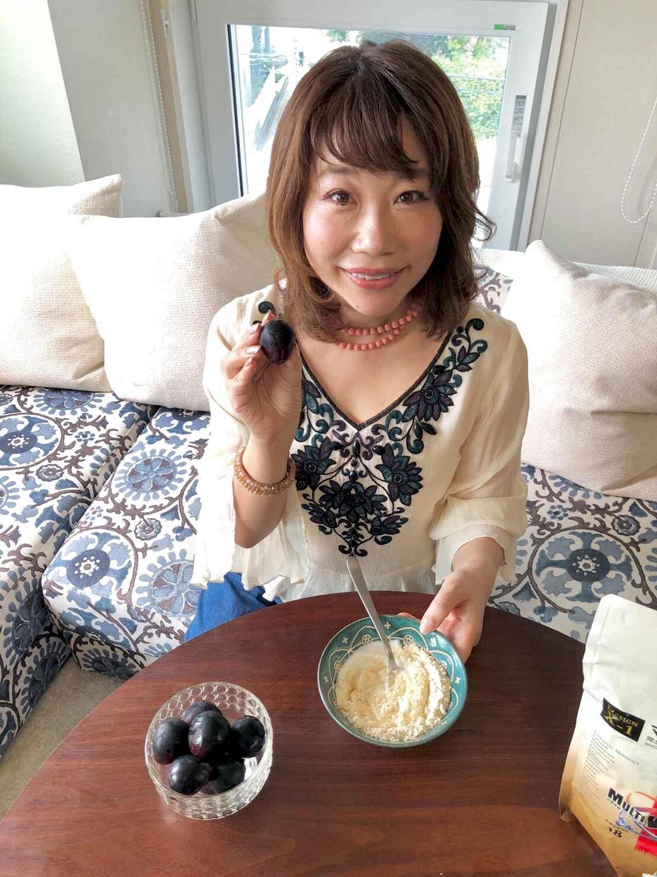 画像: この日は、私の大好きなぶどう(皮ごと食べられるもの)を 入れることにしました。