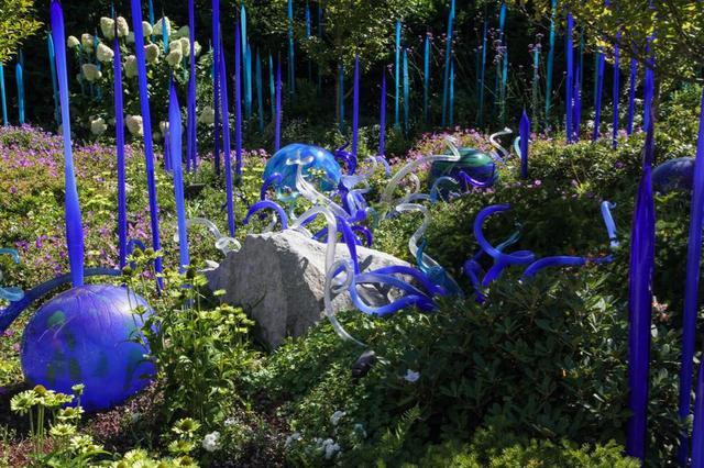 画像: 自然光を浴びて輝きを放つガラス工芸の作品群 ©Chihuly Garden and Glass