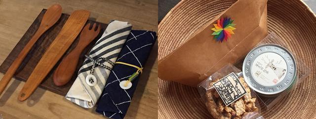 画像: 左は地元作家の作品。カトラリーケースのボタンは自然に穴が空いた貝殻。右は屋久島産の紅茶と、米の生産者がつくる駄菓子の「ポンせんべい」。別料金でかわいいラッピングを施してくれる