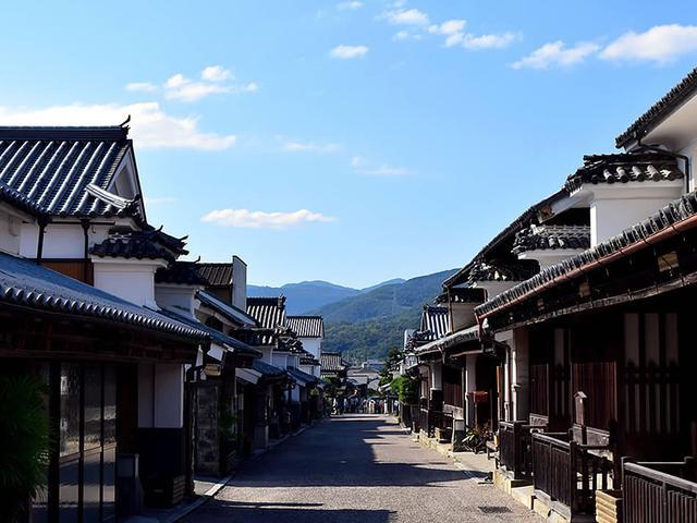 画像: 約400メートルにわたって豪壮な町家が通りの両側に連なる