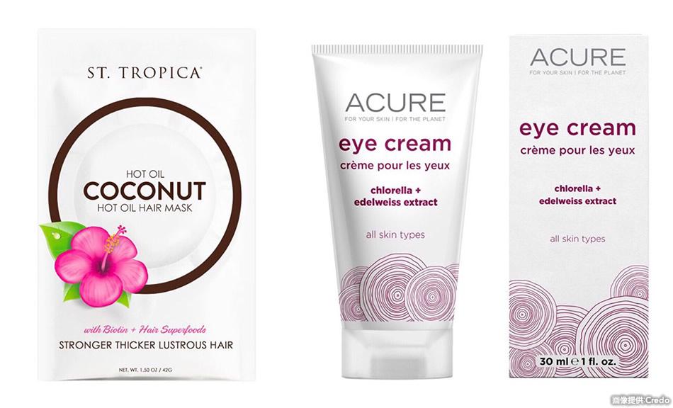 画像: 店頭には「St. Tropica」(左)、「Acure Organics」(右)など、オーガニック化粧品ブランドが並びます