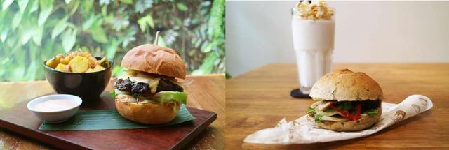 画像: 「ベトナム料理バーガー」は他店でも人気。左は牛ひき肉を炭火で焼いたベトナム料理「ボーラーロット」のバーガー(Koto)。右はフォーの出汁に使われる調味料を練りこんだバンズで、フォーの具材をはさんだもの(Ro22)