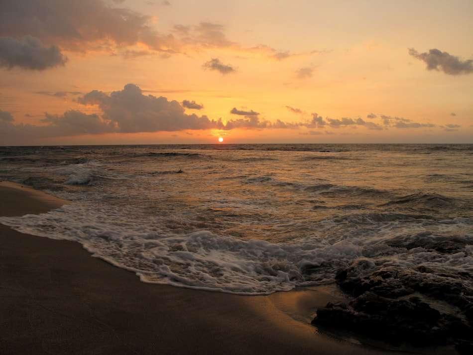 画像: コナは、夕陽の美しい場所。冬の季節には、浜辺から回遊するザトウクジラが見えます